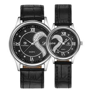 ロマンチック カップル メンズ レディース ペアウォッチ 本革 ベルトハート型 デザイン ペア 腕時計 ブラック D-102|ohmybox