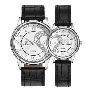 ロマンチック カップル メンズ レディース ペアウォッチ 革ベルトハート型 デザイン ペア 腕時計 ゴールデン D-102 愛する2人だけの時間|ohmybox