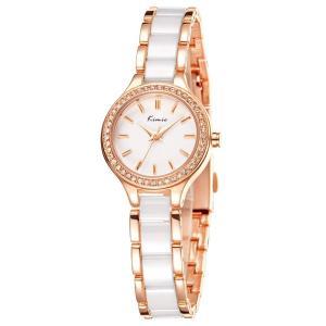 KIMIO K6121 腕時計 レディース 女性 シンプル 時計 ホワイト セラミック ローズゴールド 時計バンド 豪華文字盤|ohmybox