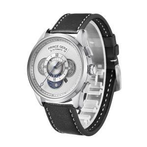 PRINCE GERA 腕時計メンズ 薄 軽 自動巻き式 機械式 シースルーバック レザーバンド ファッション 限定モデル ウォッチ [並行輸入品]|ohmybox