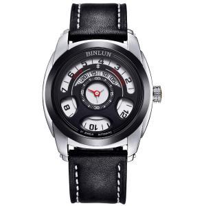 腕時計 メンズ 自動巻き BINLUN 機械式 ブラック オリジナル シースルーバック 本革レザーバンド おしゃれ 人気 ユニーク ウォッチ [並行輸入品]|ohmybox