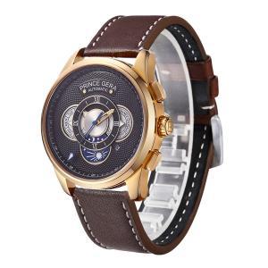 PRINCE GERA 腕時計メンズ 薄 軽 自動巻き式 機械式 おしゃれ シースルーバック レザーバンド ファッション ウォッチ [並行輸入品]|ohmybox