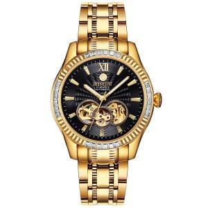 BINLUN メンズ腕時計 スケルトン 機械式 自動巻き式 オートマティック ダイヤモンド 高級感 シースルーバック ブラック×ゴールド ウォッチ [並行|ohmybox