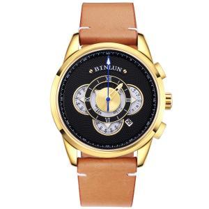 BINLUN 腕時計 メンズ クオーツ ビジネス クロノグラフ日付表示 多機能 ゴールデン 腕時計 生活防水 本革 ウォッチ [並行輸入品]|ohmybox