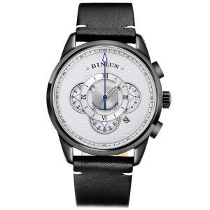 BINLUN 腕時計 メンズ クオーツ ビジネス クロノグラフ日付表示 多機能 時計 生活防水 ブラック 本革 ウォッチ [並行輸入品]|ohmybox
