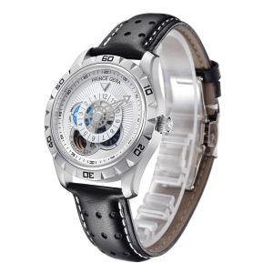 PRINCE GERA 腕時計メンズ自動巻き機械式光ファッショナブルなシースルーバック革バンド腕時計[並行輸入品] ブラック|ohmybox