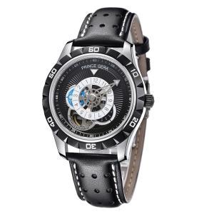 PRINCE GERA 腕時計メンズ機械式自動巻き両面スケルトン人気のブラック限定版メンズ腕時計[並行輸入品]ブラック|ohmybox