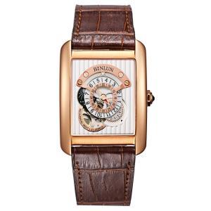 機械式 腕時計 メンズ 自動巻き BINLUN 両面スケルトン スクエア ウォッチ 3D 文字盤 Men Watch [並行輸入品]|ohmybox