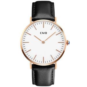 [チーヴォ]CIVO メンズ腕時計レザー アナログクオーツ本革 watch for men 男性 ブラック|ohmybox