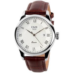 [チーヴォ] 腕時計 アナログクオーツ レザー 日付カレンダー メンズ ブラウン|ohmybox