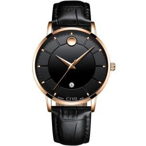 CIVO 腕時計メンズ 防水時計レザー アナログクオーツウオッチ薄型 シンプル男性腕時計本革 日付け おしゃれ ファッション ビジネス カジュアル 紳|ohmybox