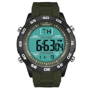 メンズ腕時計 多機能 デジタル 時報 曜日 カレンダー 防水 バックライト  軽量 カジュアル グリーン|ohmybox