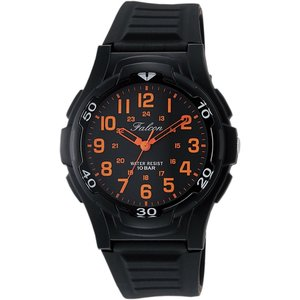 CITIZEN Q&Q 腕時計 Falcon ファルコン アナログ表示 10気圧防水 ウレタンベルト ブラック オレンジ VP84-853|ohmybox
