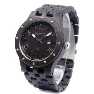 Bewell 腕時計 木製 メンズ ウッドウォッチ 天然木 腕時計 男性 日本製クオーツ アナログ表示 日付 軽量防水 夜光 クオーツウォッチ(黒檀)|ohmybox