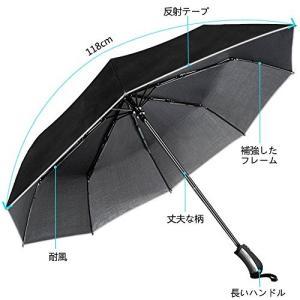 折り畳み傘 メンズ レディース ワンタッチ自動開閉 折りたたみ傘 光線反射テープ付き Teflon加工 曲面118cm 高強度グラスファイバー 耐|ohmybox