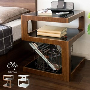 サイドテーブル おしゃれ ガラステーブル 北欧 モダン 木製 木 ウォールナット ブラウン ホワイト...