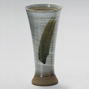 陶器ビールグラス さざ波ラッパビール(白) 美濃焼