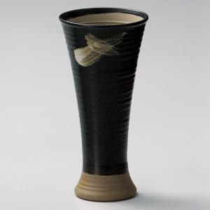 陶器ビールグラス さざ波ラッパビール(黒) 美濃焼