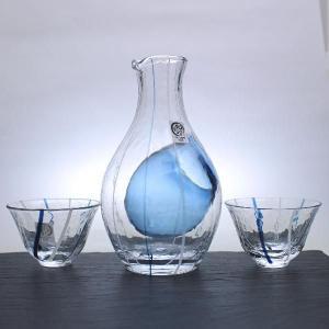日本酒グラスセレクション 冷酒ギフトセット2(和ガラスブルー)東洋佐々木ガラス製  oi-con