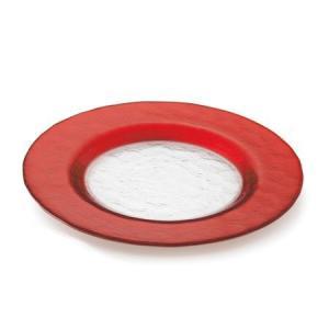 M-style『マラケシュ・シリーズ』の底面が透明でリム部分が赤いガラス製の丸いお皿です。  クリス...
