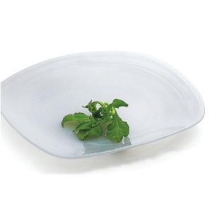 ガラス食器 マルモ スクエアプレート(L)27.5cm ホワイト|oi-con