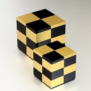 重箱 市松 GOLD 5.0三段重 (黒)(A)...