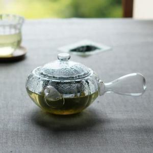 おしゃれ ガラス 急須 ぷくり 300ml (耐熱ガラス)茶こし付 TOMI GLASS製|oi-con