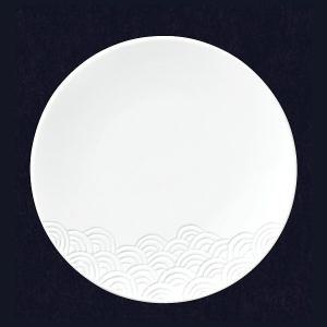 洋食器 丸皿 SEIGAIHA 青海波 27cm ディナープレート(白)(特白磁)|oi-con
