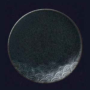 洋食器 丸皿 SEIGAIHA 青海波 27cm ディナープレート(藍潤/うるみ)(特白磁)|oi-con