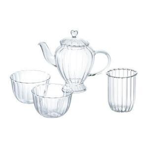プルミエール・アオヤマ ビジュー ハーブティーセット ポット(ガラス茶こし付き)&2カップ|oi-con