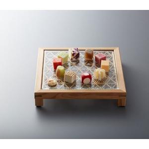 組子スクエアプレート(脚付) 伝統工芸 食器 皿(ガラスプレート付き)セット|oi-con