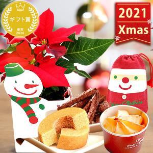 クリスマスプレゼント 花 スイーツ ポインセチア 送料無料 2019 クリスマスに人気のお花 お菓子|oimoya