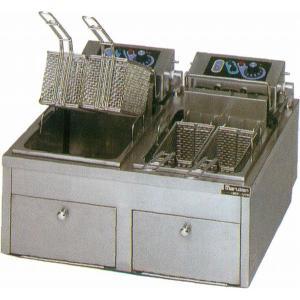 幅620 奥行600 マルゼン 電気フライヤー 卓上ファーストフードタイプ 2槽式 MEF-10TPWD|oishii-chubou