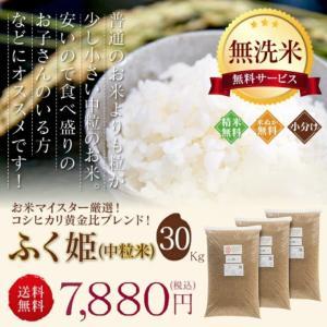 訳あり ブレンド米 お米 30kg ふく姫 送料無料 無洗米 玄米 中粒米