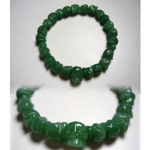 インド翡翠 スケルトン(髑髏彫り)腕輪
