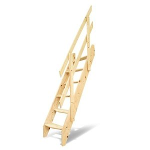 DOLLE(ドーレ) ロフトはしご デザインステップ 木製ロフト階段 片側手すり仕様 ok-depot