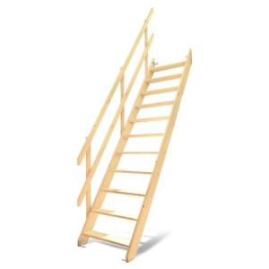 DOLLE(ドーレ) ロフトはしご ワイドステップ 木製ロフト階段 片側手すり仕様|ok-depot