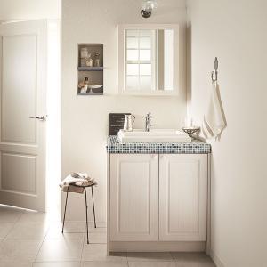 WOODONE(ウッドワン) 洗面化粧台 ウッドワン 無垢の木の洗面台 NZ50 ホワイト色 間口775mm 両開き仕様|ok-depot