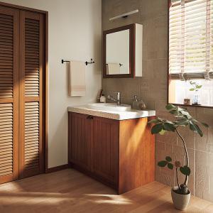 WOODONE(ウッドワン) 洗面化粧台 ウッドワン 無垢の木の洗面台 NZ40 ミディアムブラウン色 間口945mm 両開き仕様|ok-depot
