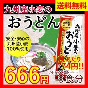 【送料無料】九州産小麦のおうどん 240g×3袋(9食入り)|ok-tanaka