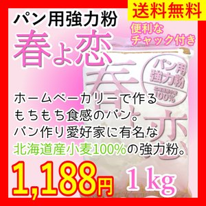 【送料無料】パン用強力粉 春よ恋 1kg 北海道産小麦100%|ok-tanaka