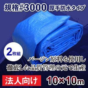 ブルーシート 厚手 10m×10mサイズ 規格#3000 2枚セット