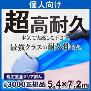 ブルーシート 厚手 防水 規格 #3000 5.4m×7.2m サイズ 正規品 1枚の画像