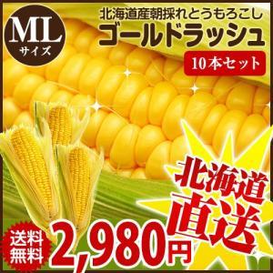 とうもろこしゴールドラッシュ 北海道産トウモロコシ 朝採れ直送(ML混合サイズ×10本セット)|okadanouen