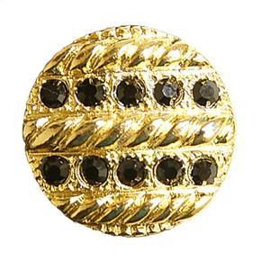 ロープ柄クリスタルボタン(KWA-A272) 25mm 10.金×黒 (H)_6a_ okadaya-ec