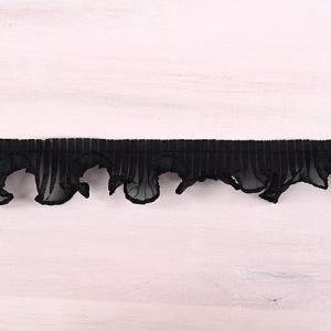 プリーツフリルレース(AS7300) 約2.5cm幅 5.黒 (B)_4b_|okadaya-ec