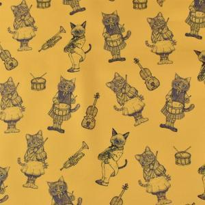 生地 Ringo Fabric-リンゴファブリック- MUSIC CAT/オックス(RINF-03) MD.マスタード (B)_ecj|okadaya-ec