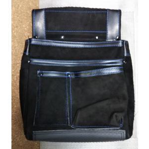 床革 釘袋  黒 M-27DX 底部4重構造で強度がアップ|okaidoku-kiyosi
