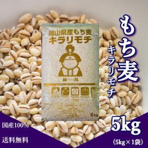 新麦 キラリもち麦 5kg 令和2年 岡山県産 国産100% もち麦 送料無料の画像
