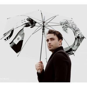 傘 和風 浮世絵風 写楽と波柄 おしゃれなレイングッズ 持ち手が特徴的なクリスタルハンドルシリーズ ビニール傘 60cm ジャンプ傘 送料無料|okamoto-kasa